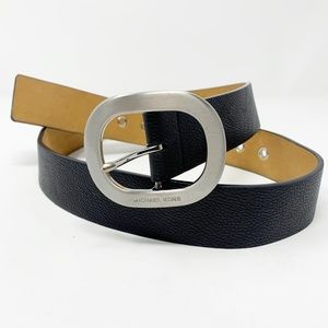 Michael Kors | Black Silver Synthetic Leather Belt